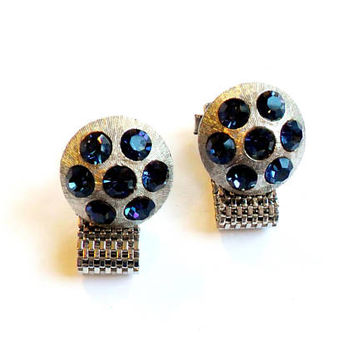 Vintage Blue Rhinestone Cuff Links - Mesh Wrap Style - Signed Celebrity NY - Silver Tone - Mens Accessories - Gift For Him - Wedding Groom