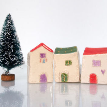 Handmade Ceramics and pottery sculpture houses with gold for terrarium, aquariums, flower beds, window sills, little houses, Croatia