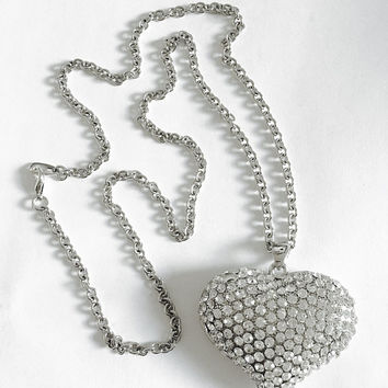 Vintage Sparkling Large Puffed Rhinestone, CZ Pave Heart on 26 Inch Silver Toned Chain, Statement Heart Pendant