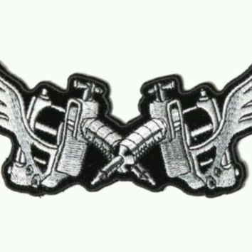 Tatto Artist Gun with Wings Patch Biker Motorcycle Jacket Vest Shirt Size 5x2