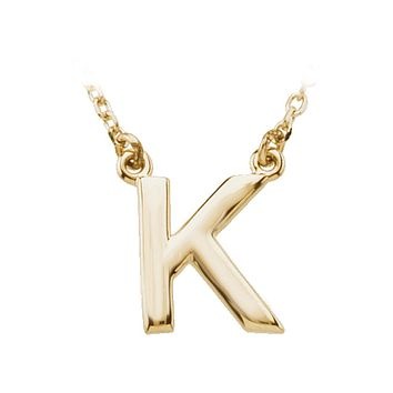 Block initial Necklace in 14k Yellow Gold, Letter K