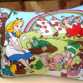 Alice in Wonderland - Vintage Disney Fabric Cushion Pillow - handmade by Alien Couture