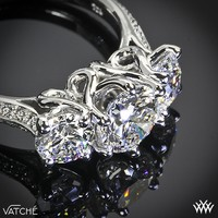"""Platinum Vatche """"Swan"""" 3 Stone Engagement Ring **Setting Only**"""