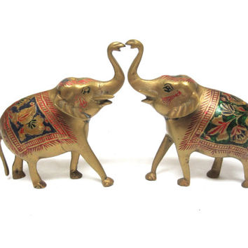 Vintage Brass Elephants Set Of Two Trunk Up Blue Green Red