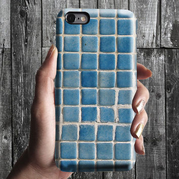Blue Tile iPhone 6/6S, 6 Plus Case 4S,5S, Galaxy Cover. Mobile Phone Cell. Gift Idea. Anniversary. Gift for him and her