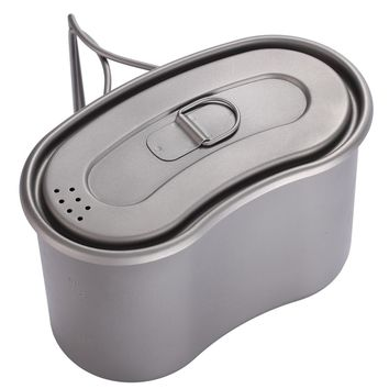 TOAKS Titanium Military Lunch Box Titanium Canteen Cup with Lid Backpacking Titanium Military Pot 950ml
