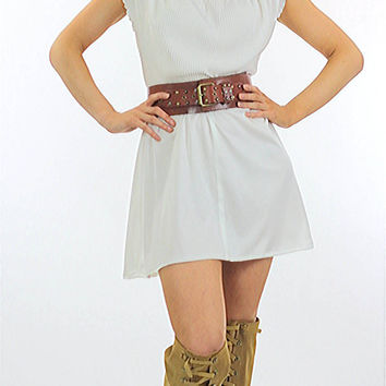 70s white pleated boho mini dress Grecian draped cap sleeve scoop neck