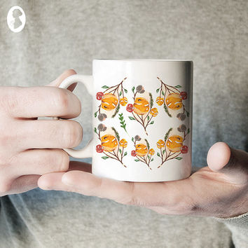 Floral Illustrated Ceramic Coffee Mug, Yellow Floral Mug, Unique Coffee Mug, Gift for Her, Statement Mug, Floral Coffee Mug