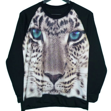 Tiger sweatshirt blue eye white snow leopard pullover jumper sweater **animal t shirt ** long sleeve ** clothing size M L one size