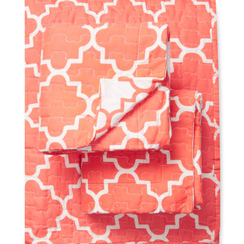 Melange Home Eileen West Bright Lattice Quilt Set - Orange -