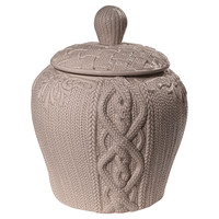 """10"""" Cable-Knit Lidded Jar, Gray, Jars, Canisters, Tins & Bottles"""
