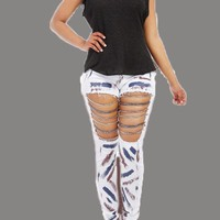 White Patchwork Chain Cut Out High Waisted Mom Long Jeans