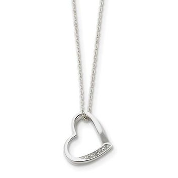 Sterling Silver Heart Diamond Accent Necklace