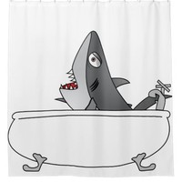 Shark in your Bathtub Shower Curtain