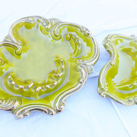 Vintage California Originals Ashtrays in Chartreuse Green / Set of 2