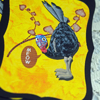 Set of Hand Made Tags - Turkey Disguised as Cat, Save the Thanksgiving Turkey, Scrapbooking, Card Tuck In  #590