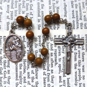 St. Christopher Chaplet - Saint Chaplet, Catholic, Brown Camel Japser Gemstone