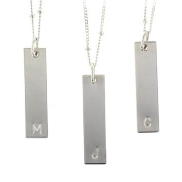 Sterling Silver Initial Bar Tag Only