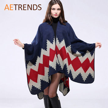 New Thicken Winter Poncho Women Red Rhombus Striped Warm Ponchos and Capes Z-3152