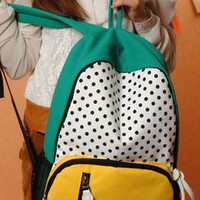 Cool Cute Leisure Mixing Color Dot Print Backpack from perfectmall