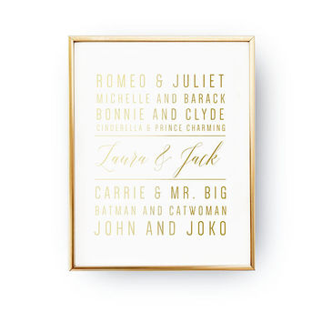 Famous Couples, Wedding Signs, Wedding Decoration, Real Gold Foil Print, Wedding Print, Wedding Wall Decor, Gold Foil Sign Wedding