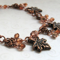 Copper Leaf Charm Bracelet, Maple Leaf Charms with Apricot Czech Beads, Autumn Jewelry