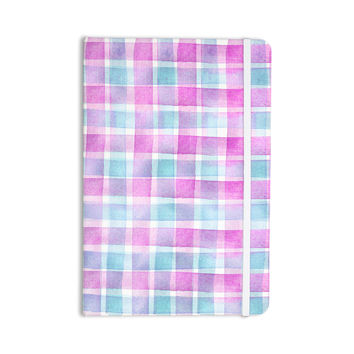 "Michelle Drew ""Watercolour Checked Tartan Sin"" Magenta Plaid Everything Notebook"