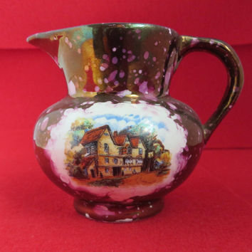 Dickens Days Pitcher, Gray's Pottery Creamer, Purple Gold Lustre Vintage English Hand Painted Pottery