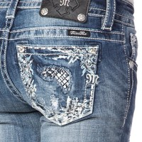 Peek-A-Boo Cross Hatch Skinny Jeans