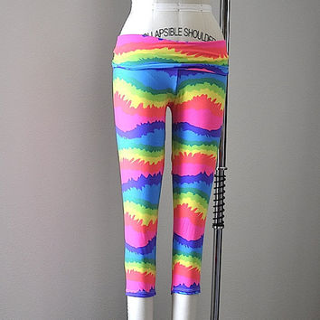 SXY FITNESS Tie Dye  Hot Yoga Fitness Capri Pants Leggings Tights Item 4465