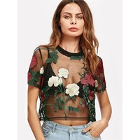 Embroidered Flower Mesh Crop Top