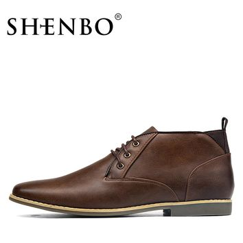 SHENBO Brand Fashion Men Chukka Boots, High Quality Men Desert Boots, Simple Style Men Ankle Boots