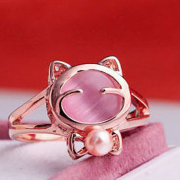 Smiley Kitty Rose Gold Opal Cat Ring with Pearl