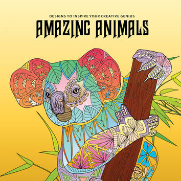 Adult Coloring Book, Printable Coloring Pages, Coloring Pages, Geometric, Coloring Book for Adults, Instant Download AMAZING ANIMALS