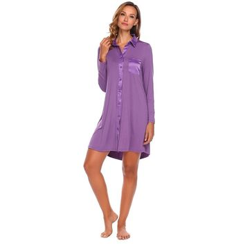 Casual Sleepwear Women Turn-down Neck Patchwork Nightgown Long Sleeve Front Button Up Nightwear With Bust Pocket