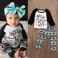 2pcs baby set Newborn Baby Kids Boys Long Sleeve Letter T-shirt Tops+Long Elephant Print Pants