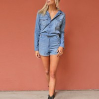 West Coast Wardrobe Short and Sweet Chambray Shorts Jumpsuit in Denim