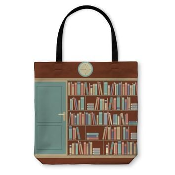 Tote Bag, Bookcase In Reading Room Illustration