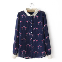 Print Pattern Chiffon Long Sleeve Blouse [6047780865]