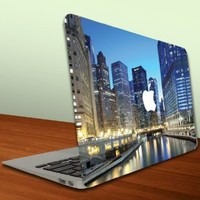 Macbook Air or Macbook Pro (13 inch) Vinyl, Removable Skin - Chicago Skyline View From River