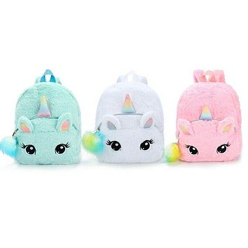 Kids Girls Fluffy Unicorn Backpack Plush School Rucksack Zipper Shoulder Bag US