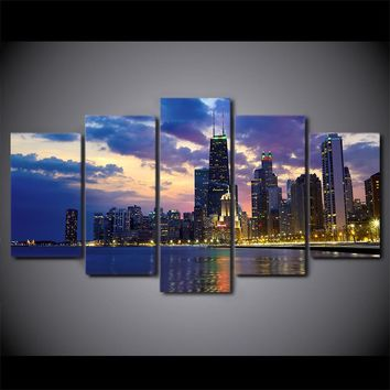 Chicago Cityscape Sunset Evening 5 Panel Wall Art Canvas print poster picture