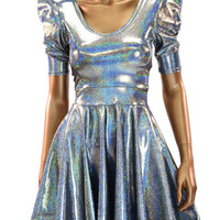 Silver Holographic Sharp Shoulder Skater Dress