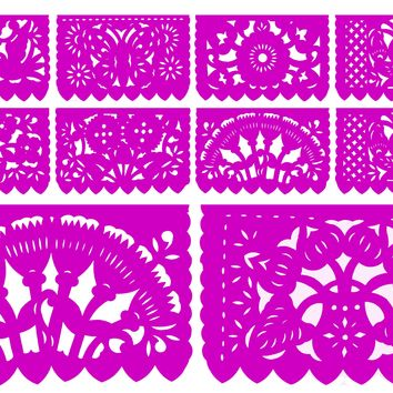 Papel Picado, Hot Pink, Mexican banner, 12 feet Long, Fiesta decoration, SB1
