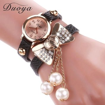 FREE Women Fashion Butterfly Bow Pearl Casual Leather Bracelet Wristwatch. You just pay for shipping and handling cost only!