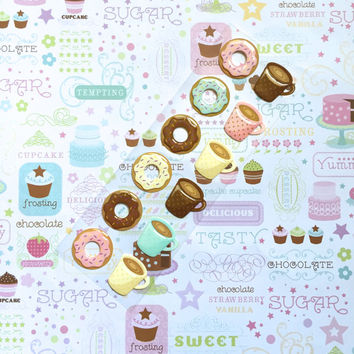 12 Donut Stickers // Coffee Mug Stickers // for Life Planner // Smash Book // Scrapbook