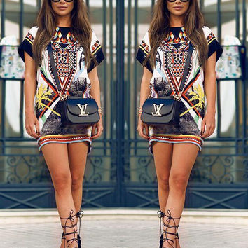 New Women Summer Dress ethnic Floral printed Evening Party Beach Short Sleeve vintage Tribal Print Mini Dress 2017 hot sale
