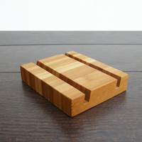 Double Business Card Holder. Bamboo Business Card Holder. Bamboo Card Holder. Wood Card Holder. Chocolate.