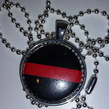 "Red Line Firefighter Support 1"" Pendant Necklace, free shipping, stocking stuffer, firefighter jewlery"