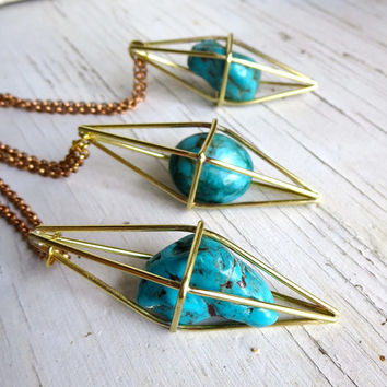 Turquoise pendant necklace, December Birthstone, Geometric Himmeli Pendant Necklace, Caged Crystal, Turquoise Blue Golden Brass